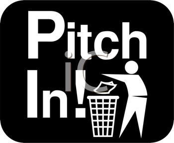 Royalty Free Clipart Image of a Pitch In Sign