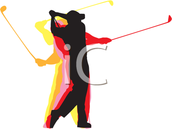 Royalty Free Clipart Image of a Golf Swing Silhouette