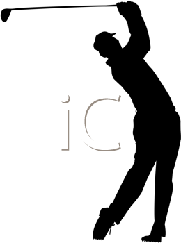 Royalty Free Clipart Image of a Male Golfer Swinging a Club