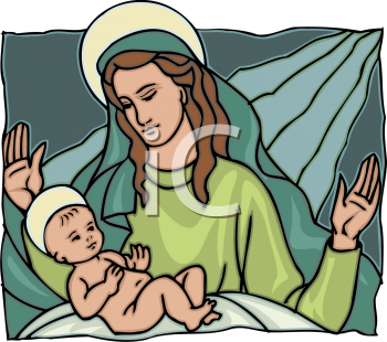 Royalty Free Clipart Image of Mother Mary and Jesus