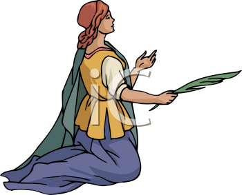 Royalty Free Clipart Image of a Woman Kneeling