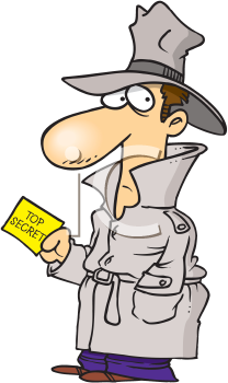 Royalty Free Clipart Image of a Man Holding a Top Secret