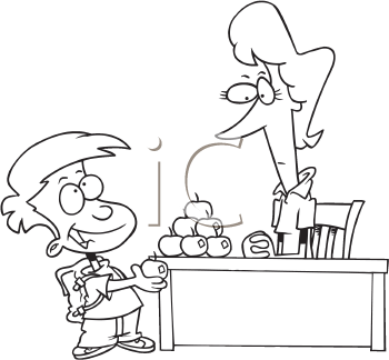 Royalty Free Clipart Image of a Boy Giving an Apple to a Teacher