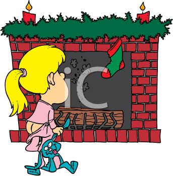 Royalty Free Clipart Image of a Little Girl Waiting by the Fireplace on Christmas Eve