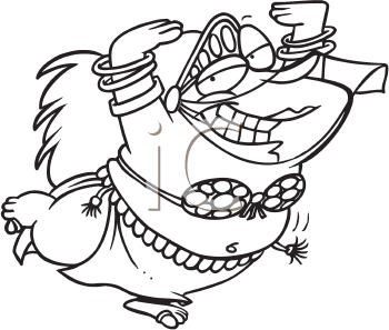 Royalty Free Clipart Image of an Overweight Belly Dancer