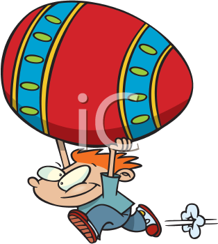 Royalty Free Clipart Image of a Child With a Big Easter Egg