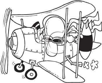 Royalty Free Clipart Image of a Pilot Dropping a Bomb