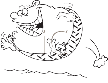 Royalty Free Clipart Image of a Man Jumping Into a Pool