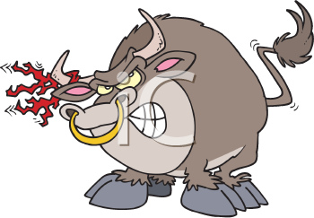 Royalty Free Clipart Image of an Angry Bull