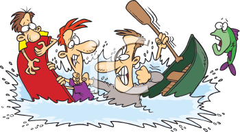 Royalty Free Clipart Image of Men Fighting in Canoes