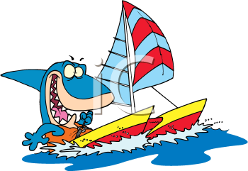 Royalty Free Clipart Image of a Shark in a Boat