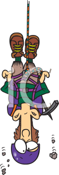 Royalty Free Clipart Image of a Man Hanging by a Rope