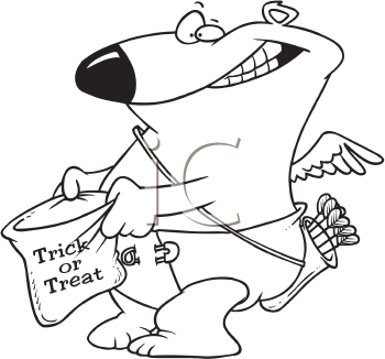 Royalty Free Clipart Image of a Trick-or-Treating Bear