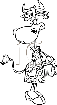 Royalty Free Clipart Image of a Cow in a Dress