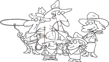 Royalty Free Clipart Image of a Western Family