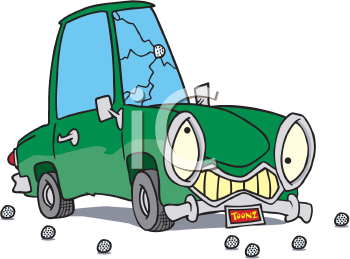 Royalty Free Clipart Image of a Car With a Cracked Windshield From Golf Balls