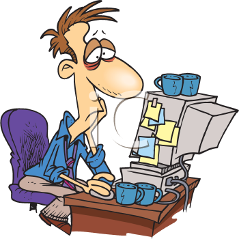 Royalty Free Clipart Image of a Bleary-Eyed Man at a Computer