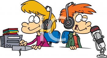 Royalty Free Clipart Image of Two Children as DJs