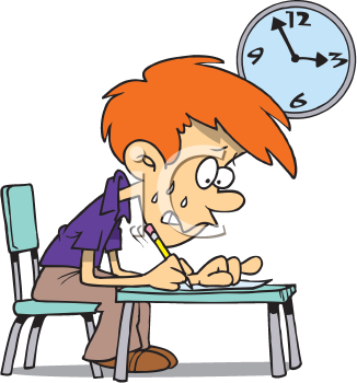 Royalty Free Clipart Image of a Student Writing an Exam