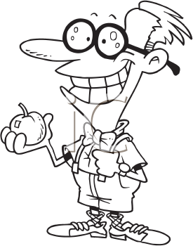 Royalty Free Clipart Image of a Man With an Apple