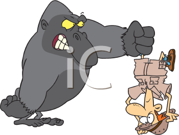 Royalty Free Clipart Image of a Gorilla Holding a Man