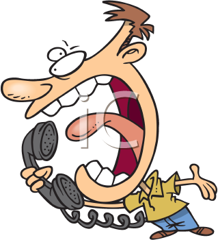 Royalty Free Clipart Image of a Man Hollering on the Telephone