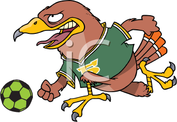 Royalty Free Clipart Image of a Soccer Playing Hawk