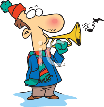 Royalty Free Clipart Image of a Man Playing a Horn