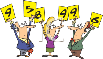 Royalty Free Clipart Image of Three Judges Holding Up Numbers