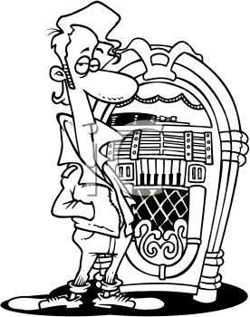 Royalty Free Clipart Image of a Man by a Jukebox
