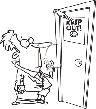 Royalty Free Clipart Image of a Man Looking at a Keep Out Sign