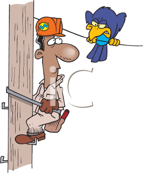 Royalty Free Clipart Image of a Hydro Lineman Looking at a Bird