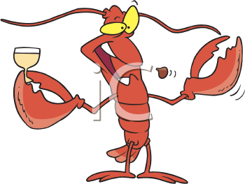 Royalty Free Clipart Image of a Lobster Holding a Glass of Wine