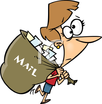 Royalty Free Clipart Image of a Woman Carrying a Large Mailbag
