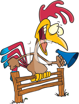 Royalty Free Clipart Image of a Rooster With a Megaphone