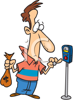 Royalty Free Clipart Image of a Man With a Bag of Coins Standing By a Parking Meter
