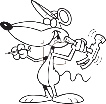 Royalty Free Clipart Image of a Mouse With a Hammer