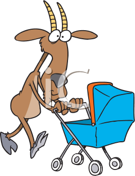 Royalty Free Clipart Image of a Goat Pushing a Carriage