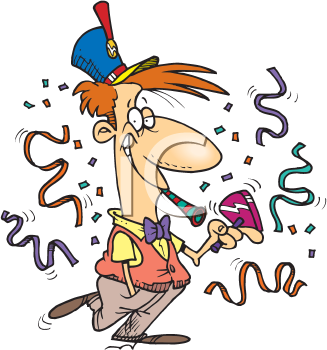 Royalty Free Clipart Image of a Man Celebrating New Year's