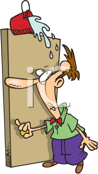 Royalty Free Clipart Image of a Man With a Pail of Water About to Fall on His Head from Over the Door