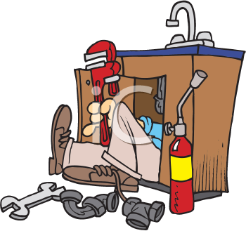 Royalty Free Clipart Image of a Plumber Working on Sink