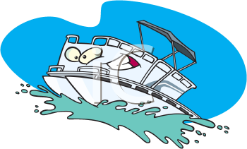 Royalty Free Clipart Image of a Pontoon Boat