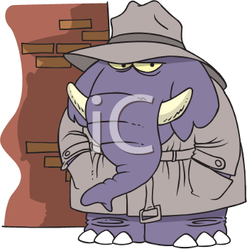 Royalty Free Clipart Image of an Elephant in a Trench Coat