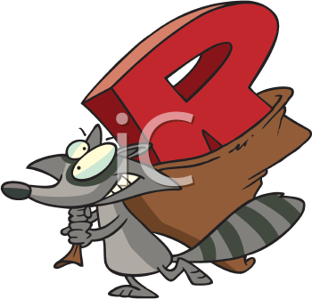 Royalty Free Clipart Image of a Raccoon With an R in a Bag