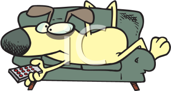 Royalty Free Clipart Image of a Dog on a Couch With a Remote