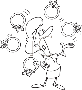 Royalty Free Clipart Image of a Woman Juggling Five Golden Rings