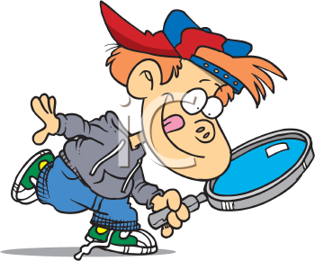 Royalty Free Clipart Image of a Child With a Magnifying Glass