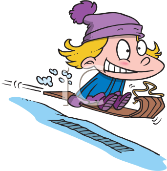 Royalty Free Clipart Image of a Child on a Toboggan