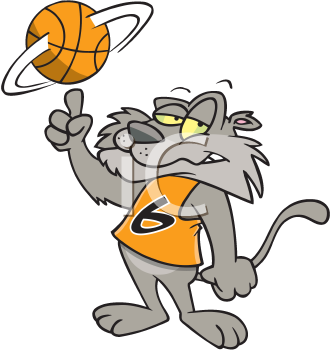 Royalty Free Clipart Image of a Cat Spinning a Basketball