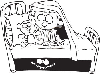 Royalty Free Clipart Image of a Little Boy Afraid of the Monster Under His Bed